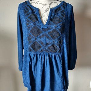 Lucky Brand Cotton Knit Embroidered Boho Top Blue